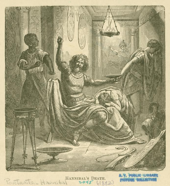 Hannibal dies by ingesting poison Image ID: 1623984 Hannibal's death. (c1882)