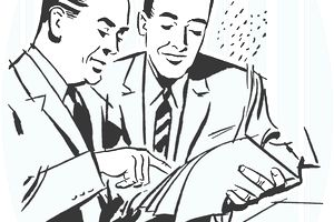 Drawing of Two Businessmen Reviewing Documents