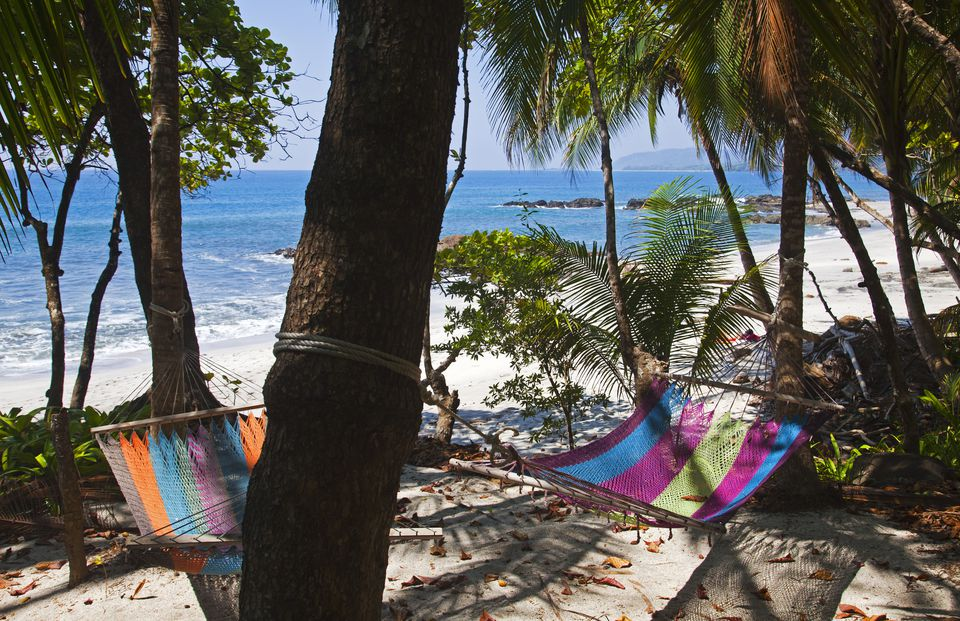 Beach hammocks on Montezuma beach.