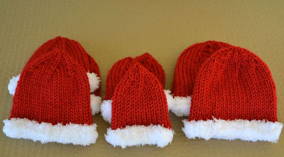 knit sweet little santa-inspired baby hats for preemies and full-term babies.