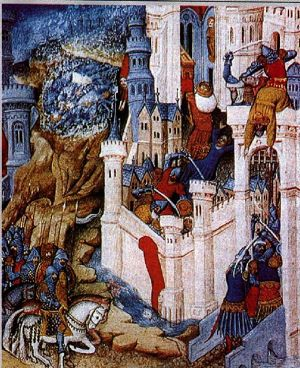 Sack of Rome in 410 by Alaric the King of the Goths. Miniature from 15th Century.