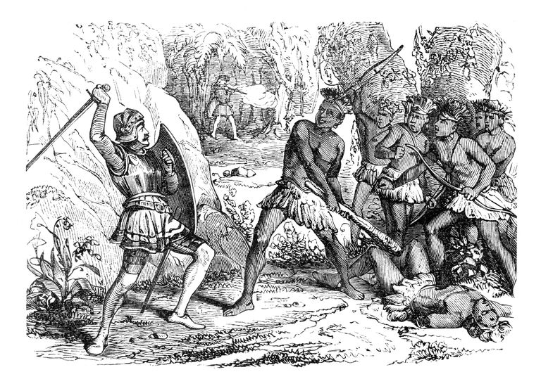 Conquistador Pizarro in battle between Aztec and spanish troups 1863