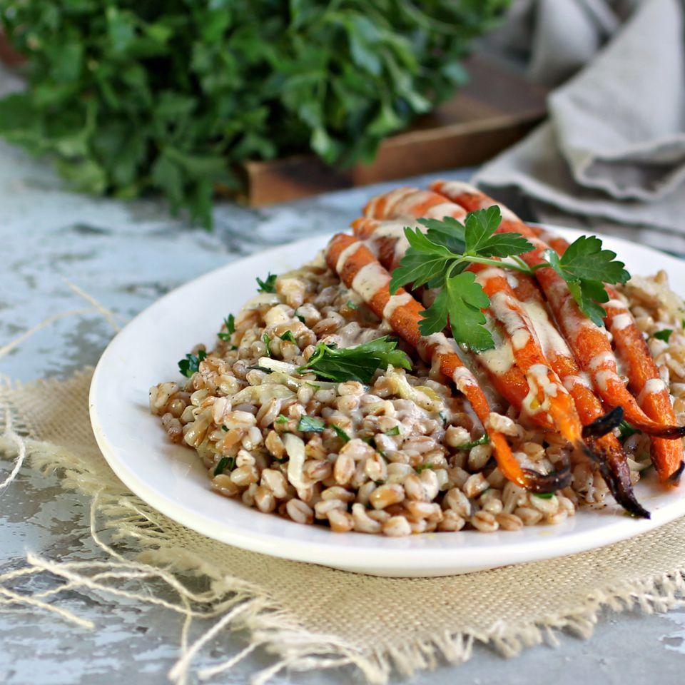 Farro with Cumin Roasted Carrots and Cumin Tahini