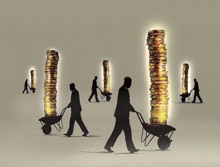 Carretas con monedas apiladas