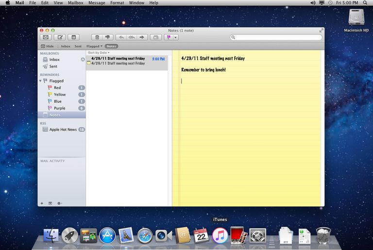 Mail Notes in OS X Lion