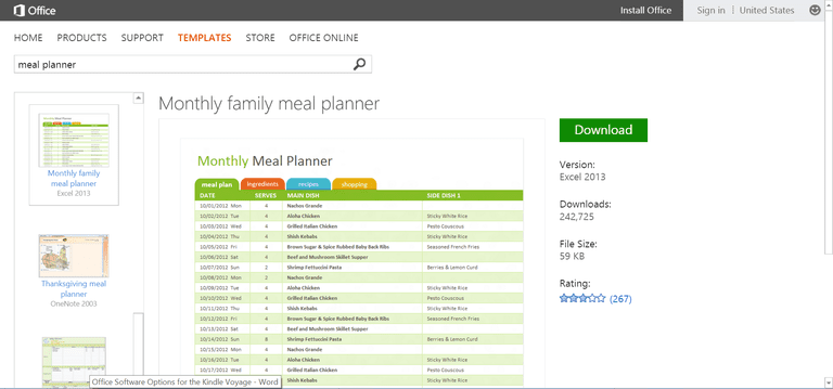 monthly family meal planner template or printable for microsoft excel
