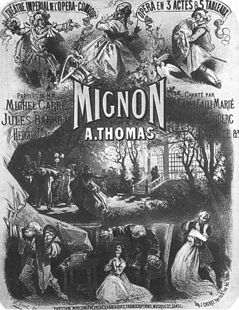 Poster for the Premiere of the Opera Mignon