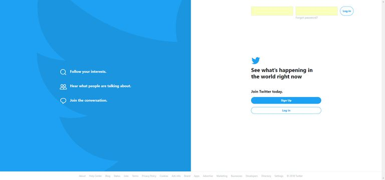 Screenshot of the Twitter Sign Up page for users who want to share with the world.