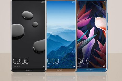 Three Huawei Mate 10 Pro smartphones side by side