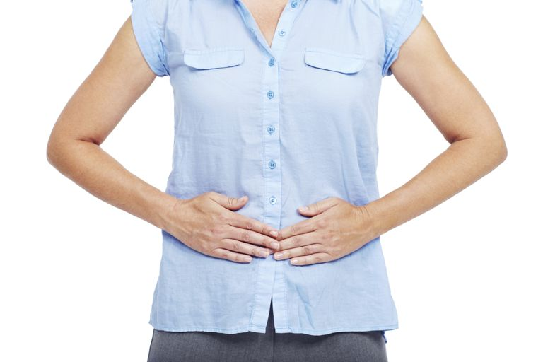 woman with upset stomach