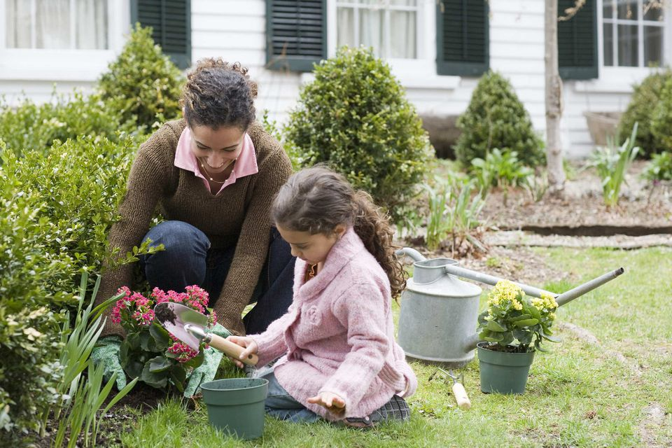 A picture of a mother and daughter gardening