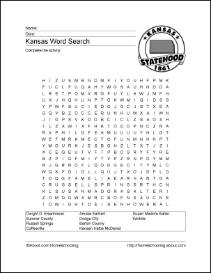 Kansas Wordsearch, Crossword Puzzle, and More