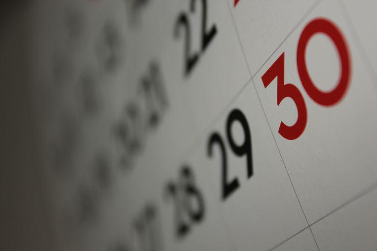 calendar for Spanish lesson on dates