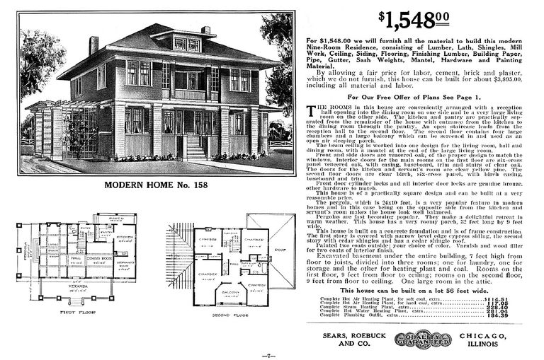 American Foursquare Floor Plan From The Sears Modern Homes Mail Order Catalog Home No
