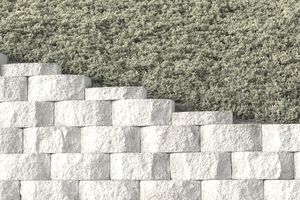 Retaining Wall and Plantings Above, Background, Pattern, Diagona