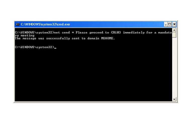 Screenshot of the net send command in a Windows XP Command Prompt