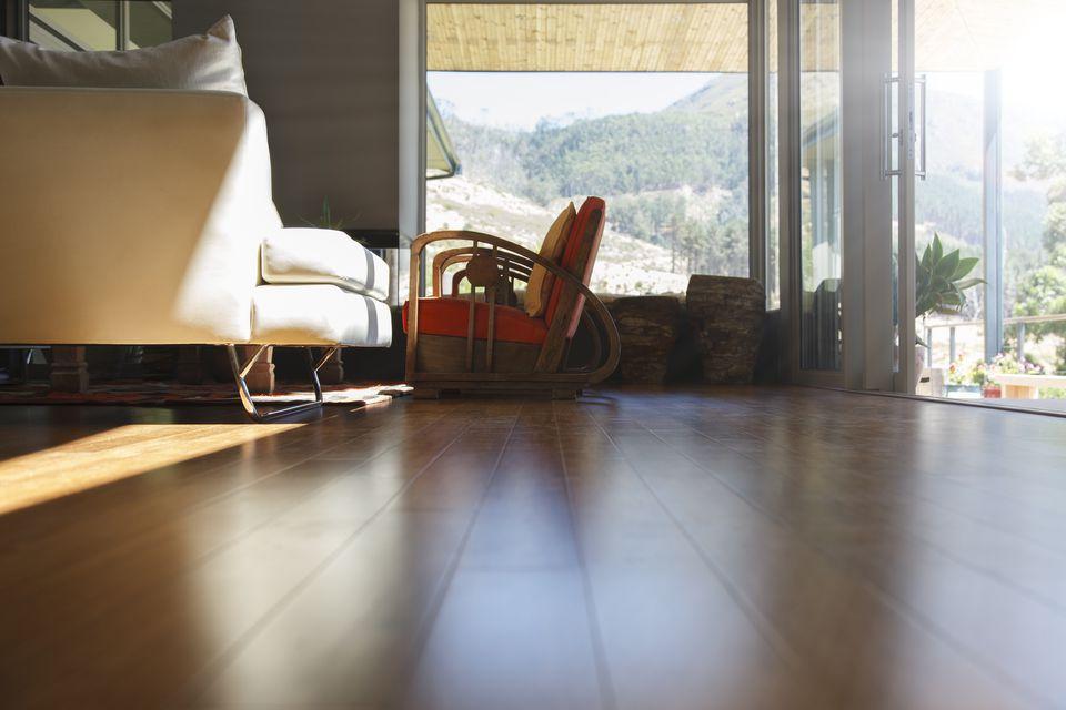 Living Room Interior Hard Wood Floor And Sofa