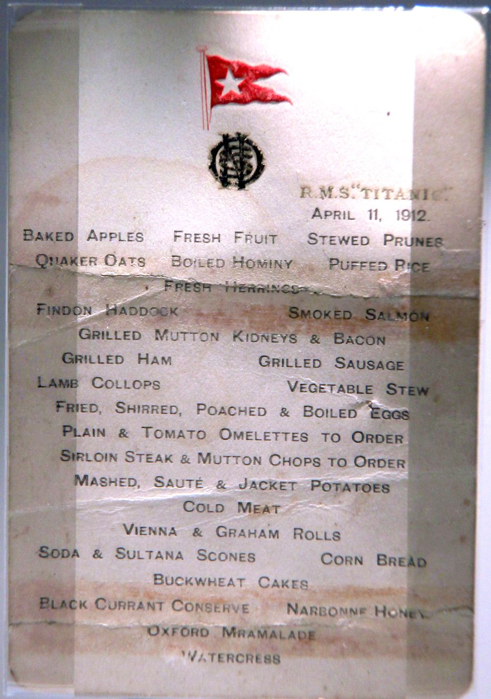 Menus From The Rms Titanic 39 S Fateful Voyage