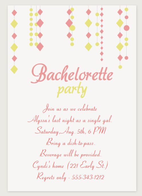 A Pink And Green Bachelorette Party Invitation
