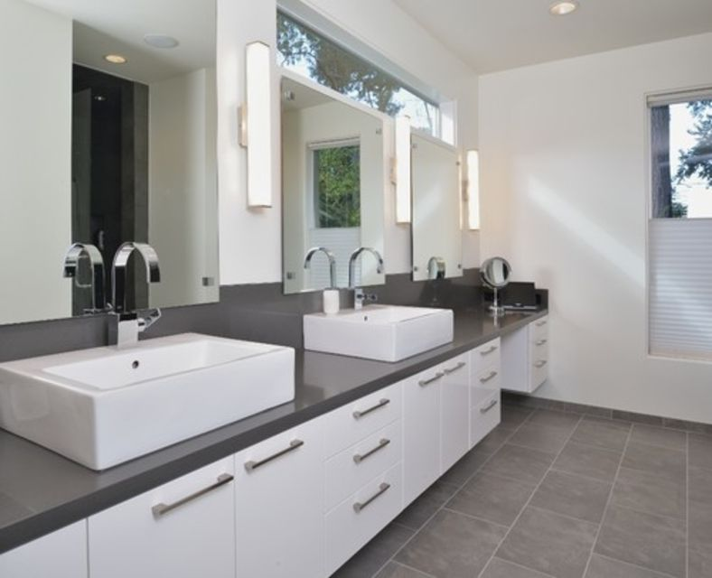 Modern Gray And White Master Bathroom
