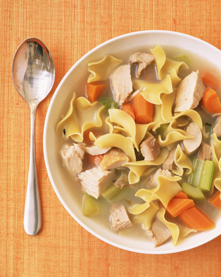 Bowl Of Chicken Noodle Soup And Spoon