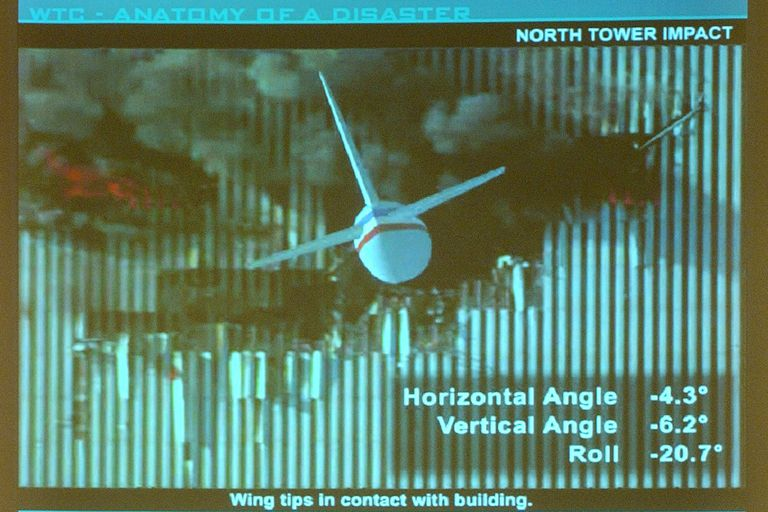 WTC Anatomy of a Disaster, North Tower Impact, presentation slide of wing tips in contact with building, horizontal angle -4.3 degrees, vertical angle -6.2 degrees, and roll -20.7 degrees