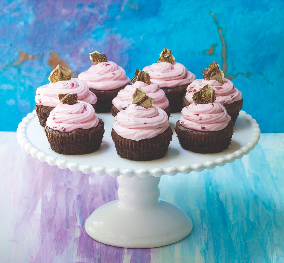 Flourless Chocolate Orange Cupcakes with Beet Frosting