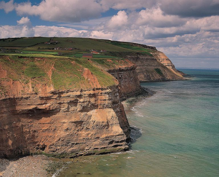 Boulby Cliffs, the highest cliffs on England's east coast exemplify the hilly terrain of Boulby, Redcar & Cleveland, England.