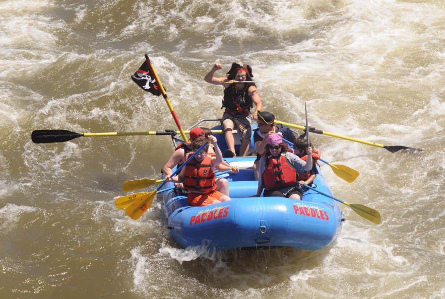 Pirate-themed white water rafting trip. Photo courtesy of Blazing Adventures rafting company.