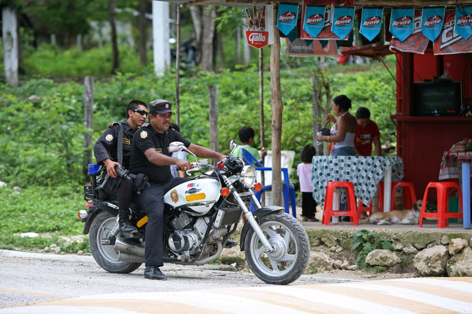 Police officers on their motorbike.