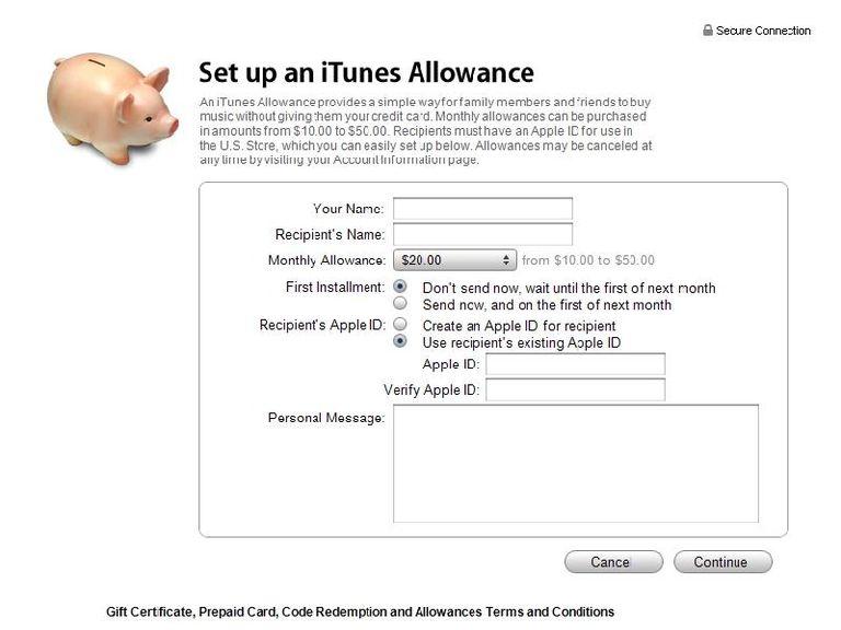 iTunes Allowance Screen