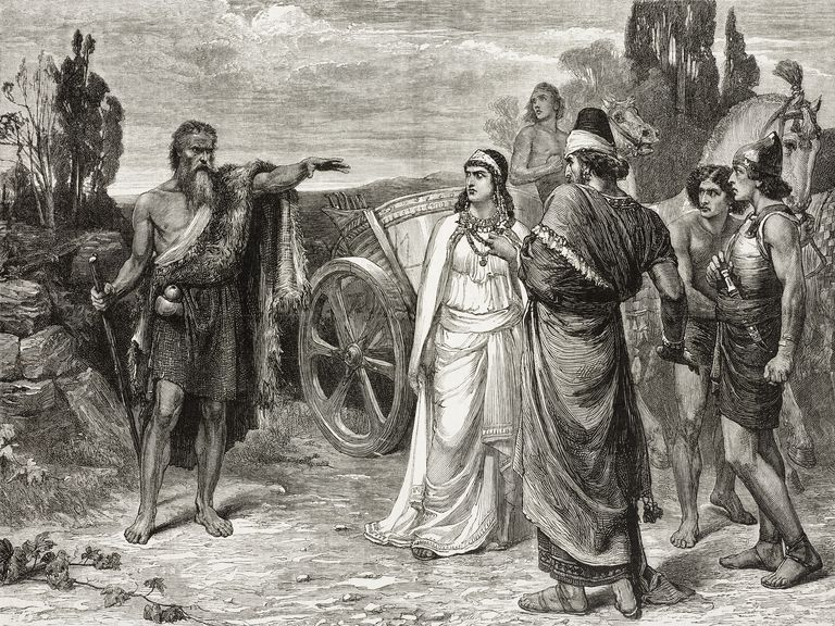 Elijah meeting Ahab and Jezebel in Naboths vineyard, by Frank Dicksee (1853-1928), illustration from magazine Graphic, volume XIII, no 336, May 6, 1876