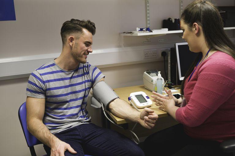 Man having blood pressure taken