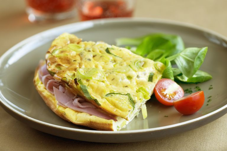 Ham and leek omelette