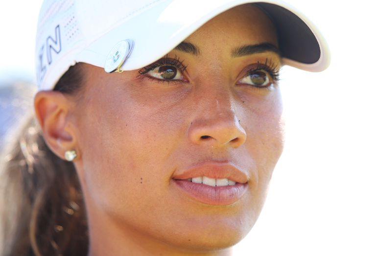 Cheyenne Woods of the USA looks uo the fairway on the 12th tee during day one of the LPGA Australian Open at Royal Melbourne Golf Course on February 19, 2015 in Melbourne, Australia