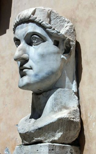 Head from the Colossal Marble Statue of Constantine the Great, Located in the Musei Capitolini, Rome
