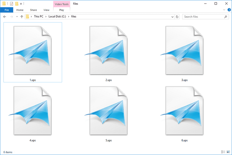 Screenshot of several XPS files in Windows 10