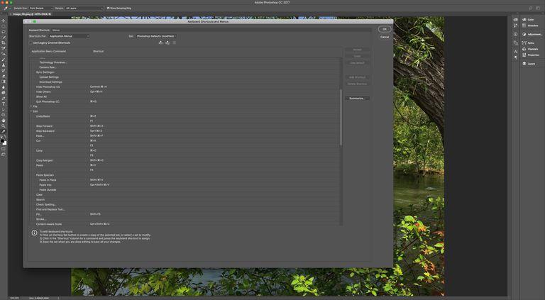 The Keyboard Shortcuts menu is shown.