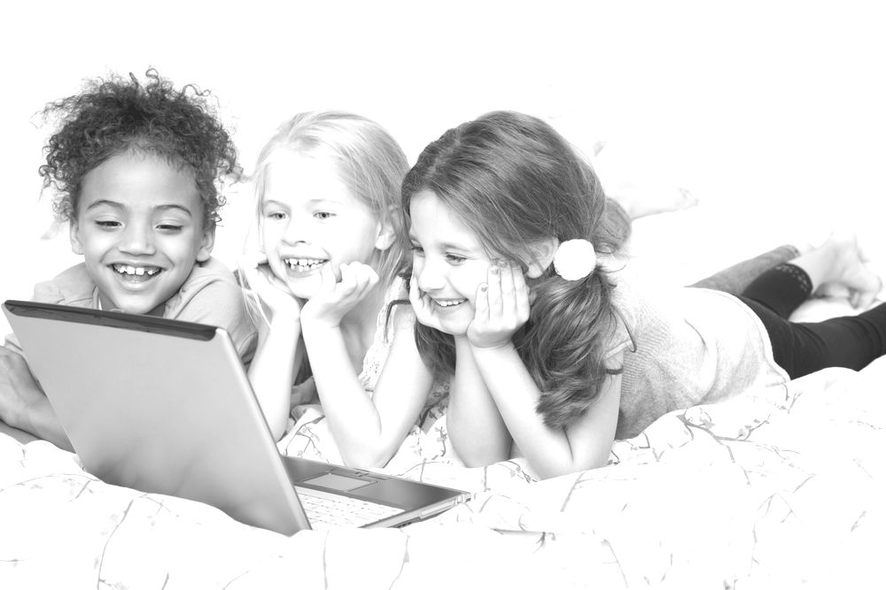 Girls watching movies on a laptop