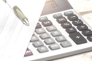 A set of budgets with a calculator