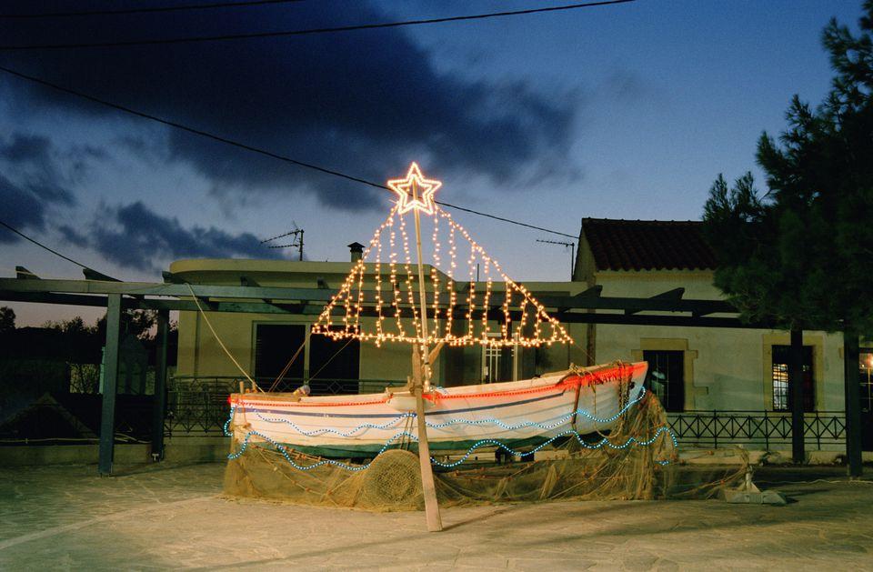 Greek Orthodox Christmas tree decorating boat
