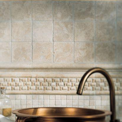 Bathroom backsplash basics pictures and dimensions for Dimensional tile backsplash