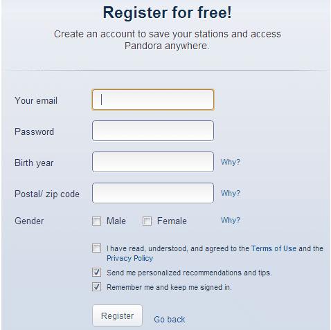 Pandora Radio Registration Screen