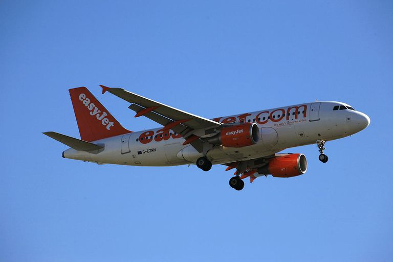 Airplane of the Easyjet company flying.