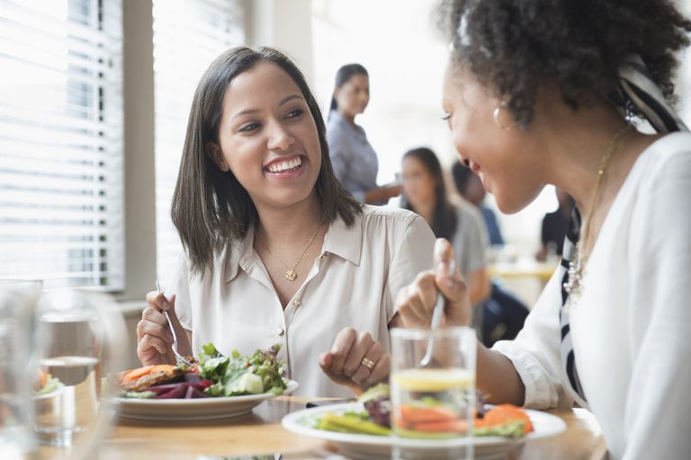 Women eating lunch together in cafe
