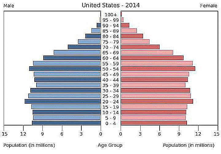 An age pyramid shows the population structure of the United States in 2014.
