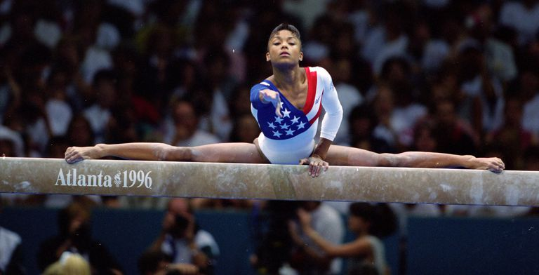 Dominique Dawes of the USA during the 1996 Olympic Games in Atlanta, Georgia
