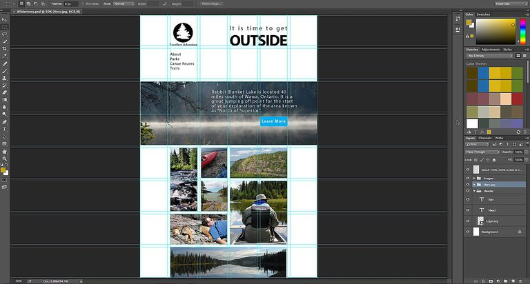 The web page is open in Photoshop.