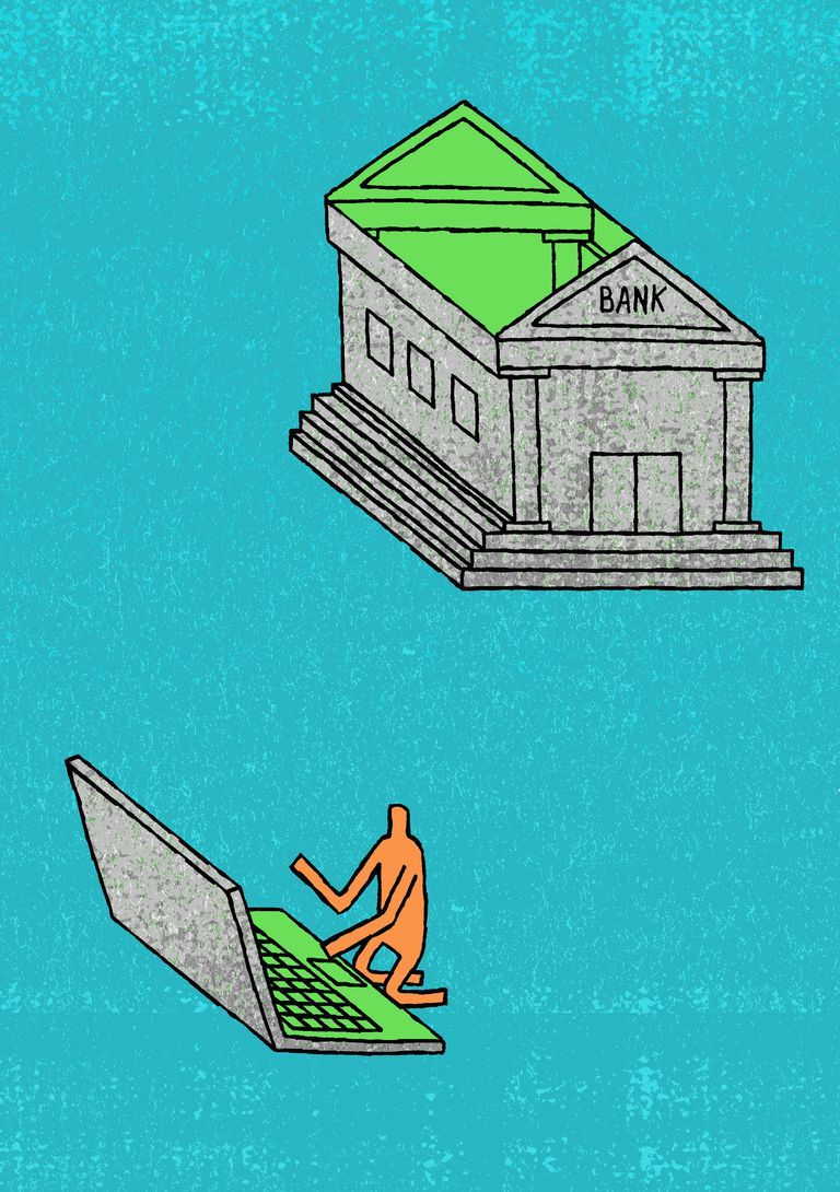 What are the different types of banks man using roof of bank as laptop xflitez Gallery