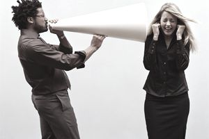 A picture of a man with a megaphone
